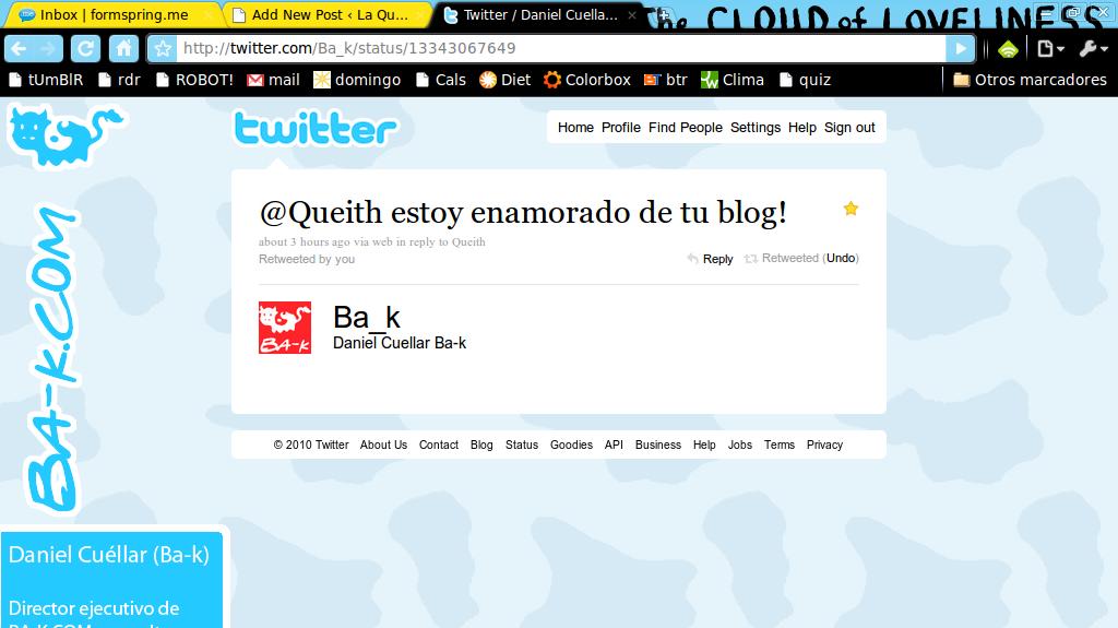 Pantallazo-Twitter - Daniel Cuellar Ba-k: @Queith estoy enamorado de ... - Google Chrome