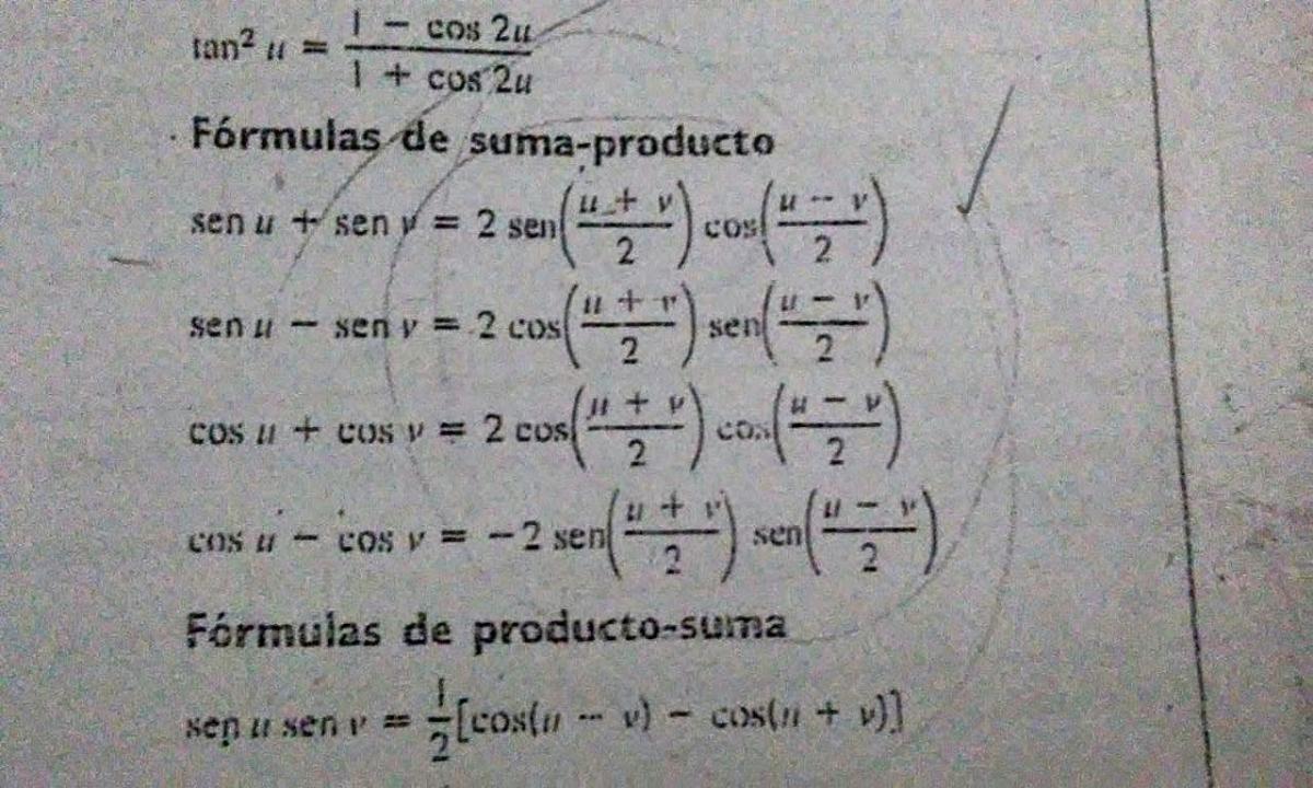 Propiedades trigonométricas e identidades trigonométricas.